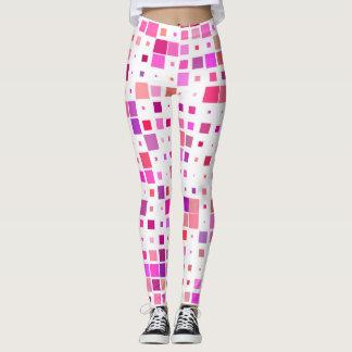 Leggings adorned with squares of pink and purple レギンス