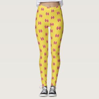 Leggings amarillos con lazos fucsia, rosa fuerte レギンス