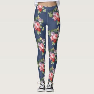 Leggings azules con flores vintage, rosas de color レギンス