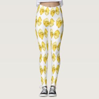 Leggings blancos con lazos amarillos レギンス