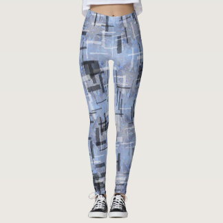 Leggings with strokes of Blues and grays レギンス