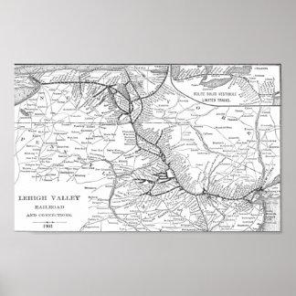 Lehighの谷の鉄道地図1903年のポスター ポスター