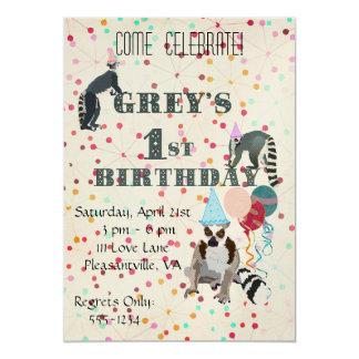 Lemursのおもしろいの抽象芸術の誕生日の招待状 カード
