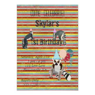Lemursの誕生日のおもしろいのストライプな招待状 カード