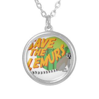 Lemursを救って下さい シルバープレートネックレス