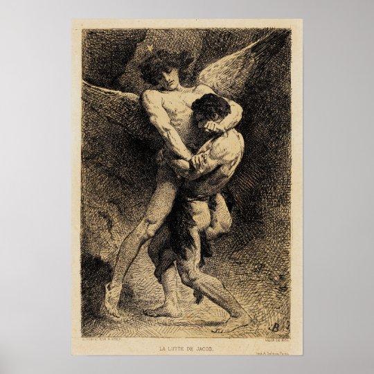 Léon Bonnat 1876年著天使のヤコブのレスリング ポスター   Zazzle.co.jp