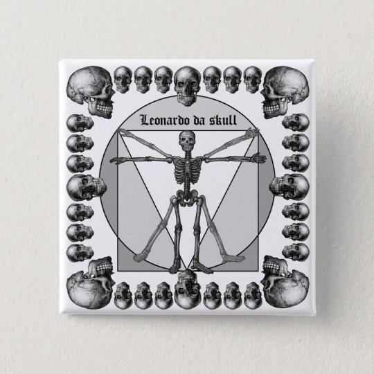 Leonardo da skull 3 5.1cm 正方形バッジ
