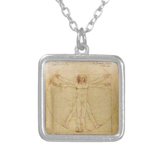 Leonardo da Vinci , Vitruvian Man シルバープレートネックレス