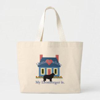 Leonbergerの家はあります ラージトートバッグ