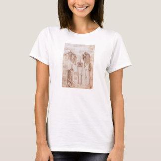 Leondardo Da Vinci著人間の解剖学の骨組 Tシャツ