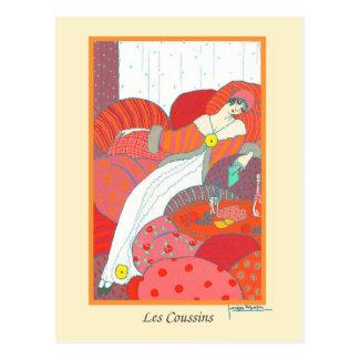 LepapeのヴィンテージのアールデコのファッションLes Coussins ポストカード