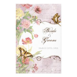 Lesのフルーアのシャクヤクのばら色のチューリップの花柄の花の結婚 14cm X 21.6cm チラシ