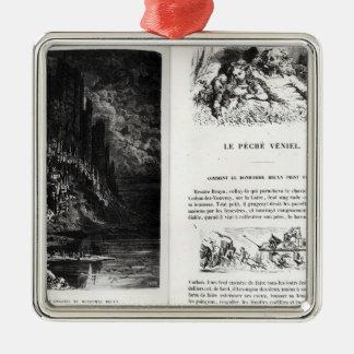 「Les Contesの2つの図解入りの、写真付きのなページ メタルオーナメント