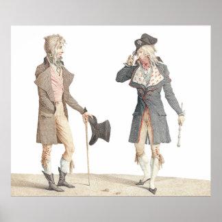 Les Incroyables - Vernet著古くフランスのな版木、銅版、版画 ポスター