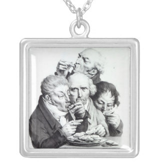 Les Mangeursのd'Huitres 1825年 シルバープレートネックレス