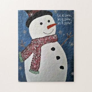 Let It Snow Christmas Snowman Puzzle ジグソーパズル