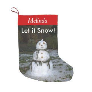 Let it Snow Personalized Name Snowman Stockings スモールクリスマスストッキング