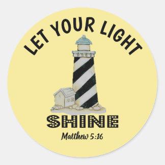 Let your Light Shine Lighthouse Matthew 5:16 ラウンドシール
