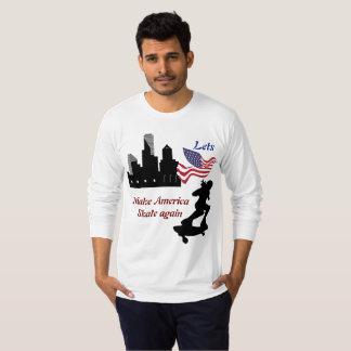 letsアメリカを再度スケートで滑らせます tシャツ