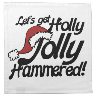 letsヒイラギにすてきクリスマスのために槌で打たれて得ます ナプキンクロス
