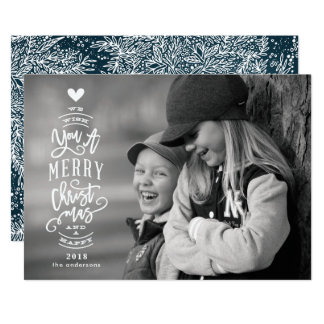 Lettering Merry Christmas Happy 2018 Photo Card カード