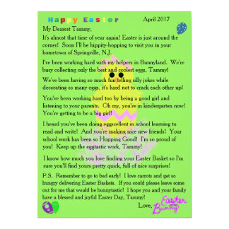 Letters from Easter Bunny Yellow Pink Chick Egg カード