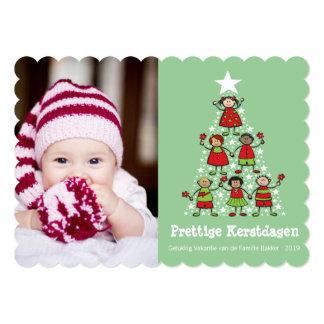 Leuke Kerstboom Kinderen Kaart van de Foto カード