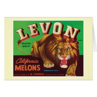 Levonのメロンのヴィンテージのラベル カード
