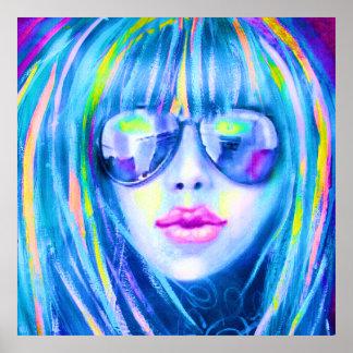 Lg. 若い女性ポスターのコンテンポラリーな絵画 ポスター