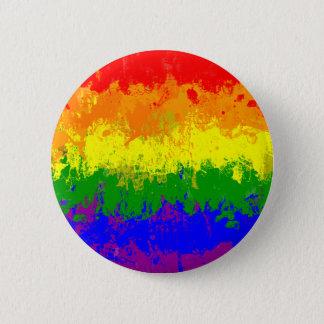 LGBTのプライドの虹の旗のペンキの(ばちゃばちゃ)跳ねるボタン 缶バッジ