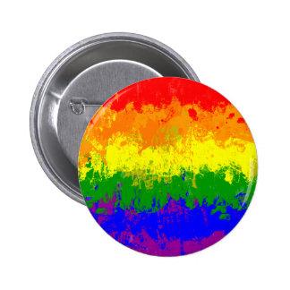 LGBTのプライドの虹の旗のペンキの(ばちゃばちゃ)跳ねるボタン 5.7CM 丸型バッジ