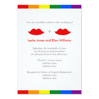LGBTのレズビアンの唇の虹の結婚式 カード