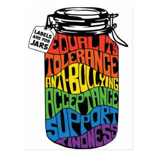 LGBTの平等のワイシャツのラベルは瓶のためです ポストカード