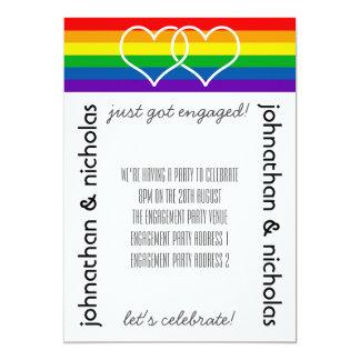 LGBTの旗の陽気な婚約パーティの招待状 カード