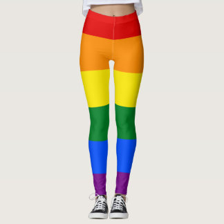 LGBTの虹のプライドの旗の横のストライプ レギンス