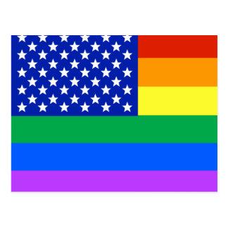 LGBTの虹の米国旗 ポストカード