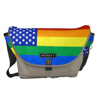 LGBTの虹の米国旗 メッセンジャーバッグ