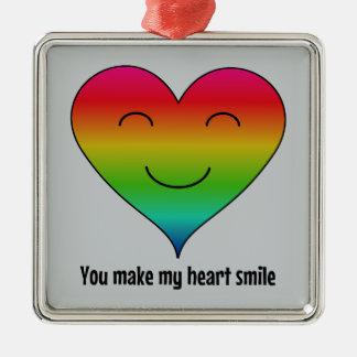 LGBTの虹私のハートのスマイルを作ります メタルオーナメント