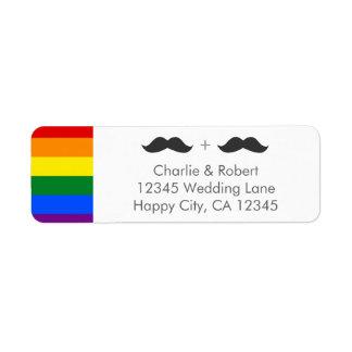 LGBTの陽気な結婚式の髭の虹 ラベル