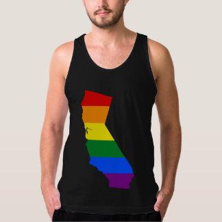 LGBTカリフォルニア、米国の旗の地図のタンクトップ タンクトップ