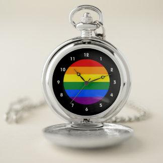 LGBTゲイプライドの虹の旗 ポケットウォッチ