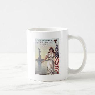 Liberty女性米国旗の自由の女神 コーヒーマグカップ