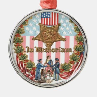 Liberty米国リースの女性旗は上がりました メタルオーナメント