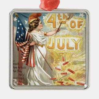 Liberty米国花火の爆竹の女性旗 メタルオーナメント