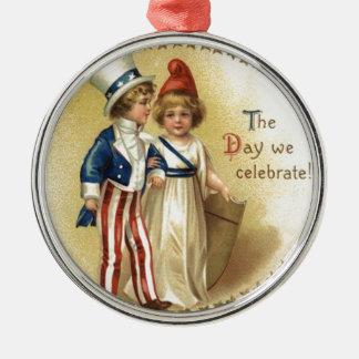 Liberty Star子供の米国市民女性 メタルオーナメント