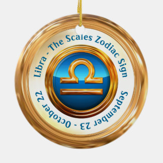 Libra The Scalesの占星術の印 陶器製丸型オーナメント