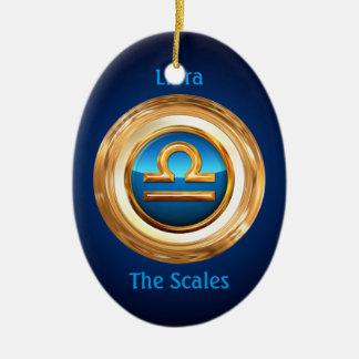 Libra The Scalesの(占星術の)十二宮図の印 陶器製卵型オーナメント