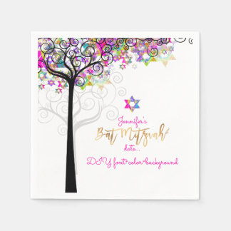 LIFE/BAT MITZVAH/NEONのピンクのPixDezinesの木 スタンダードカクテルナプキン