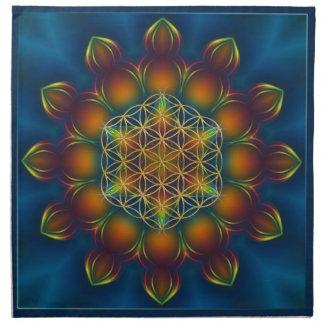 LIFE/Blume des Lebensの曼荼羅IIIの正方形の花 ナプキンクロス