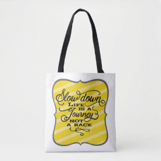 Life Is A Journey Black Script Typography Tote Bag トートバッグ